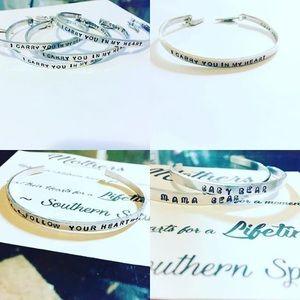 Custom Handstamped Aluminum cuff bracelets